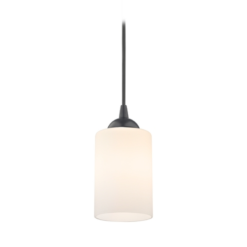 Design Classics Lighting Contemporary Mini-Pendant Light with White Cylinder Glass 582-07  GL1028C
