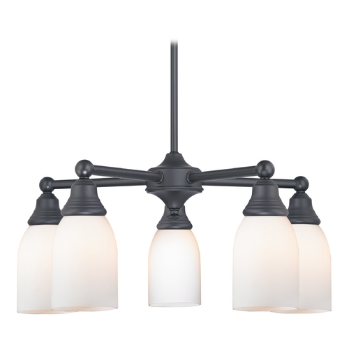 Design Classics Lighting Chandelier with White Glass in Matte Black Finish 597-07 GL1024D