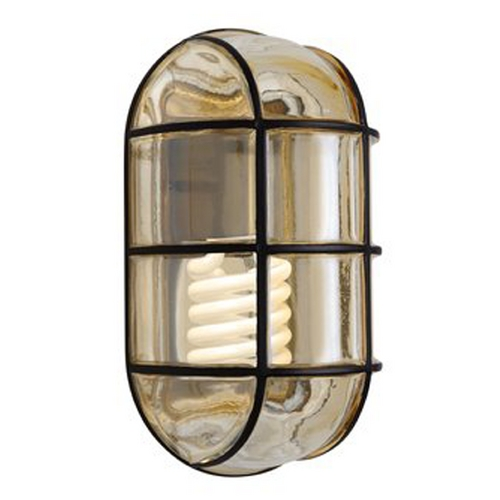 Besa Lighting Outdoor Wall Light with Grey Glass in Black Finish 396156-GU24