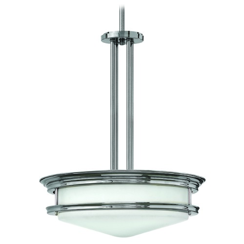 Hinkley Lighting Drum Pendant Light with White Glass in Chrome Finish 3305CM