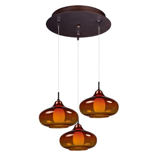 ET2 Lighting Minx Bronze Multi-Light Pendant with Oblong Shade E94648-141BZ
