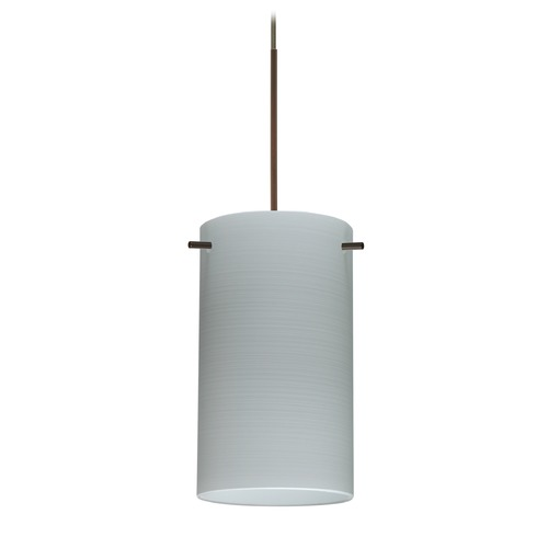 Besa Lighting Besa Lighting Stilo 7 Bronze LED Mini-Pendant Light with Cylindrical Shade 1XT-4404KR-LED-BR