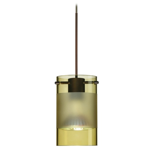 Besa Lighting Besa Lighting Scope Bronze Mini-Pendant Light with Cylindrical Shade 1XT-6524EL-BR
