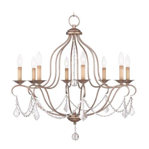 Livex Lighting Livex Lighting Chesterfield Antique Silver Leaf Crystal Chandelier 6427-73