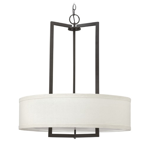 Hinkley Lighting Hinkley Lighting Hampton Buckeye Bronze Pendant Light with Drum Shade 3204KZ-GU24