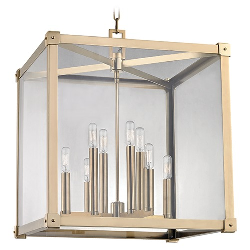 Hudson Valley Lighting Forsyth 8 Light Pendant Light Square Shade - Aged Brass 8620-AGB