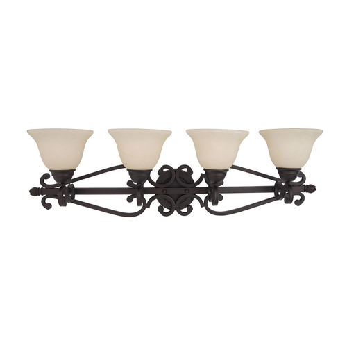 Maxim Lighting Bathroom Light with Ivory Glass in Oil Rubbed Bronze Finish 12214FIOI