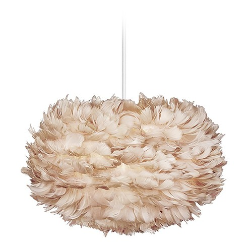 UMAGE UMAGE White Pendant Light with Light Brown Feather Shade 3006_4009