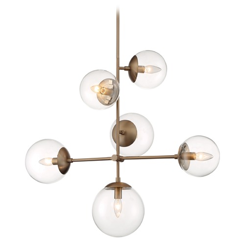 Satco Lighting Satco Lighting Sky Burnished Brass Pendant Light with Globe Shade 60/7125