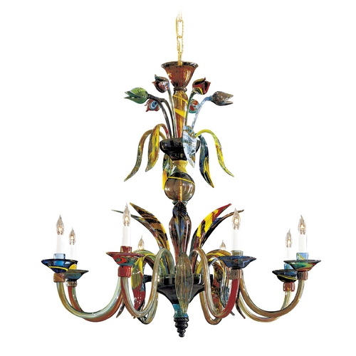 Metropolitan Lighting Chandelier with Multi-Color Glass in Multicolor Finish C7056/8