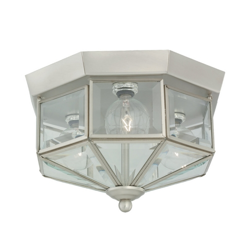 Sea Gull Lighting Flushmount Light with Clear Glass in Brushed Nickel Finish 7661-962