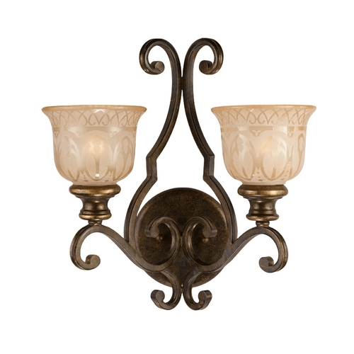 Crystorama Lighting Sconce Wall Light with Beige / Cream Glass in Bronze Umber Finish 7402-BU