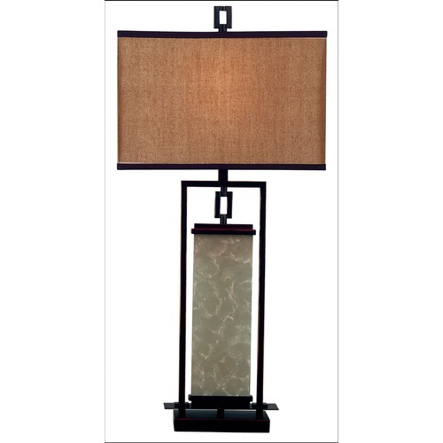 Kenroy Home Lighting Modern Table Lamp with Gold Shade in Oil Rubbed Bronze Finish 30740ORB
