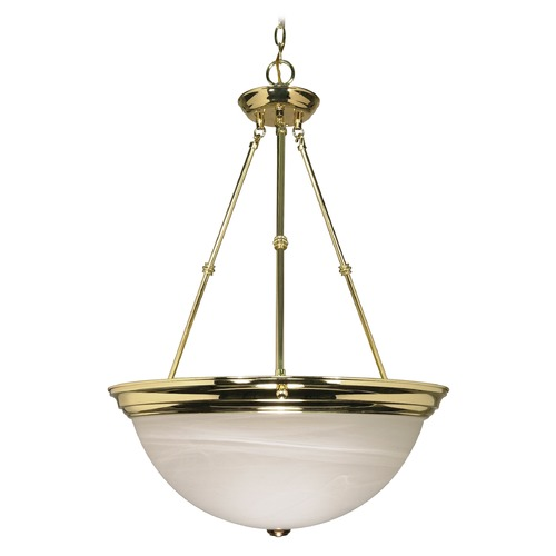 Nuvo Lighting Pendant Light with Alabaster Glass in Polished Brass Finish 60/220
