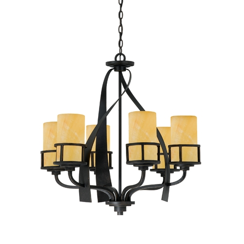 Quoizel Lighting Quoizel Kyle Six-Light Single Tier Chandelier with Onyx Shades KY5006IB