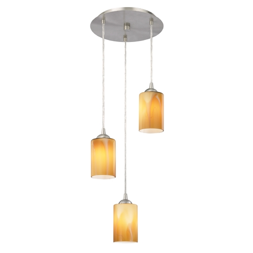Design Classics Lighting Modern Multi-Light Pendant Light with Butterscotch Art Glass and 3-Lights 583-09 GL1022C