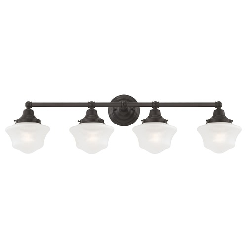 Design Classics Lighting Prismatic Glass Schoolhouse Bathroom Light Bronze 4 Light 31.625 Inch Length WC4-220 GC6-FF