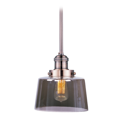 Maxim Lighting Maxim Lighting Mini Hi-Bay Antique Copper Mini-Pendant Light with Drum Shade 25049MSKACP