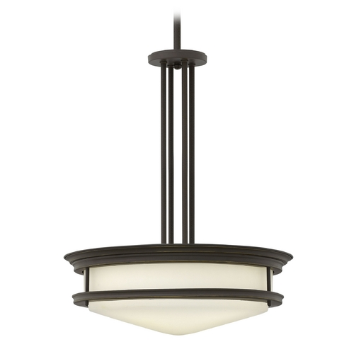 Hinkley Lighting Drum Pendant Light with White Glass in Oil Rubbed Bronze Finish 3305OZ