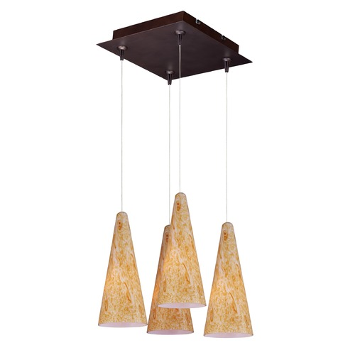 ET2 Lighting Minx Bronze Multi-Light Pendant with Conical Shade E94730-103BZ