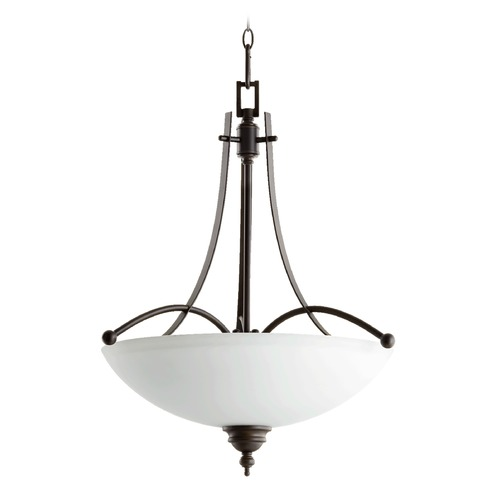 Quorum Lighting Quorum Lighting Aspen Oiled Bronze Pendant Light with Bowl / Dome Shade 8177-4-186