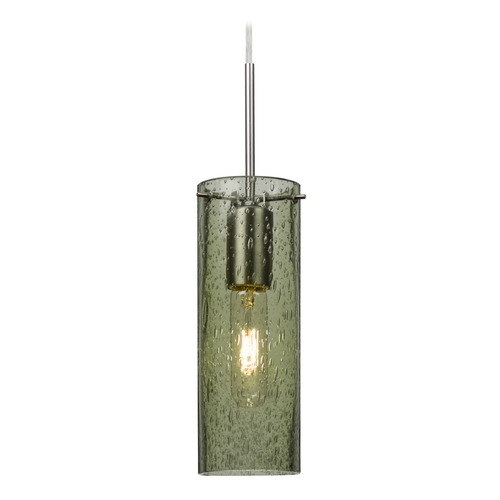 Besa Lighting Besa Lighting Juni Satin Nickel Mini-Pendant Light with Cylindrical Shade 1JT-JUNI10MS-SN