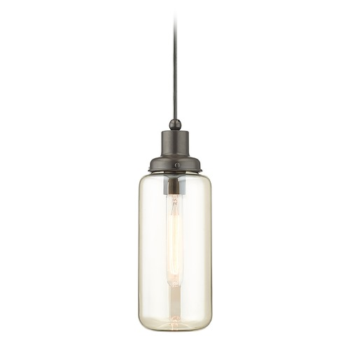 Livex Lighting Livex Lighting Art Glass Mini Pendant English Bronze Mini-Pendant Light with Cylindrical Shade 40634-92