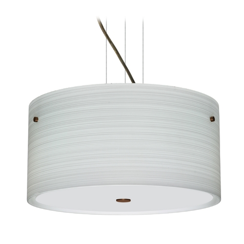 Besa Lighting Modern Pendant Light with Grey Glass in Bronze Finish 1KV-4008KR-BR