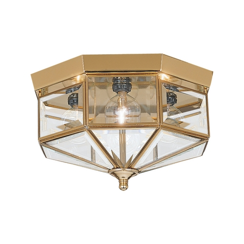 Sea Gull Lighting Flushmount Light with Clear Glass in Polished Brass Finish 7662-02