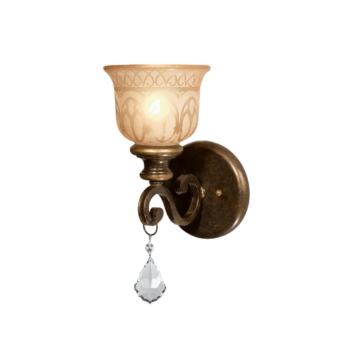 Crystorama Lighting Sconce Wall Light with Beige / Cream Glass in Bronze Umber Finish 7501-BU-CL-MWP