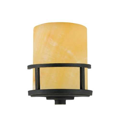 Quoizel Lighting Rustic Wall Sconce Light with Onyx Cylinder Shade in Bronze Finish KY8801IB