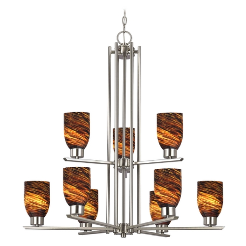 Design Classics Lighting Chandelier with Brown Art Glass in Satin Nickel - 9-Lights 1122-1-09 GL1023D