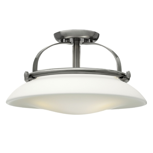 Hinkley Lighting Semi-Flushmount Light with White Glass in Brushed Nickel Finish 3321BN