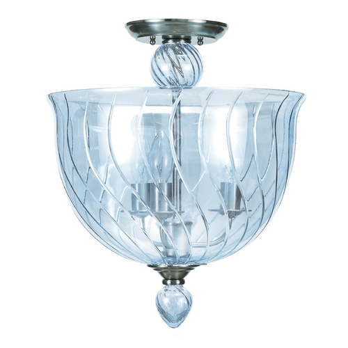 Crystorama Lighting Semi-Flushmount Light with Blue Glass in Polished Chrome Finish 9843-CH-IB