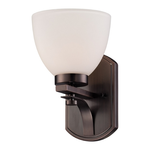 Nuvo Lighting Sconce Wall Light with White Glass in Hazel Bronze Finish 60/5111