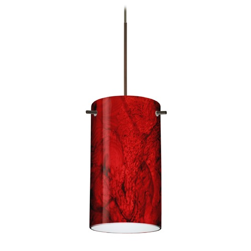 Besa Lighting Besa Lighting Stilo 7 Bronze LED Mini-Pendant Light with Cylindrical Shade 1XT-4404MA-LED-BR