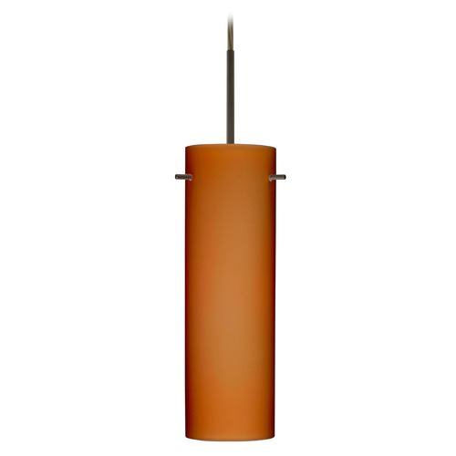 Besa Lighting Besa Lighting Copa Bronze LED Mini-Pendant Light with Cylindrical Shade 1BT-493080-LED-BR