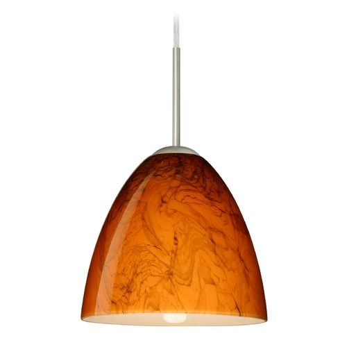 Besa Lighting Besa Lighting Vila Satin Nickel LED Mini-Pendant Light with Bell Shade 1JT-4470HB-LED-SN