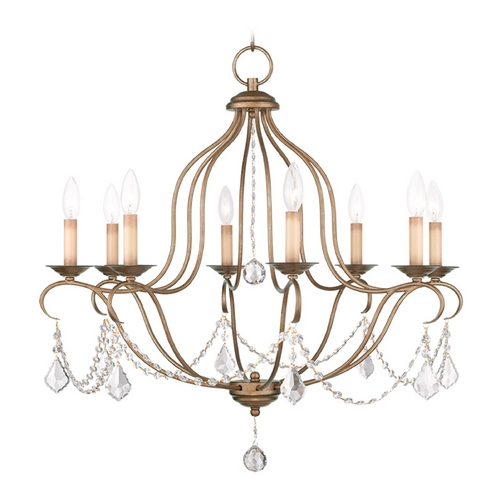 Livex Lighting Livex Lighting Chesterfield Antique Gold Leaf Crystal Chandelier 6427-48