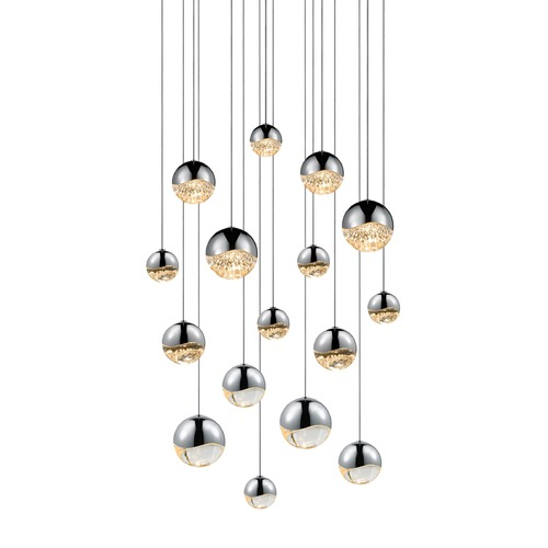 Sonneman Lighting Sonneman Grapes Polished Chrome 16 Light LED Multi-Light Pendant 2923.01-AST