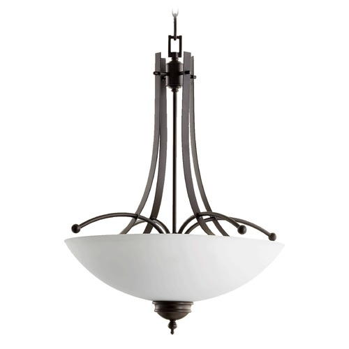 Quorum Lighting Quorum Lighting Aspen Oiled Bronze Pendant Light with Bowl / Dome Shade 8177-5-186