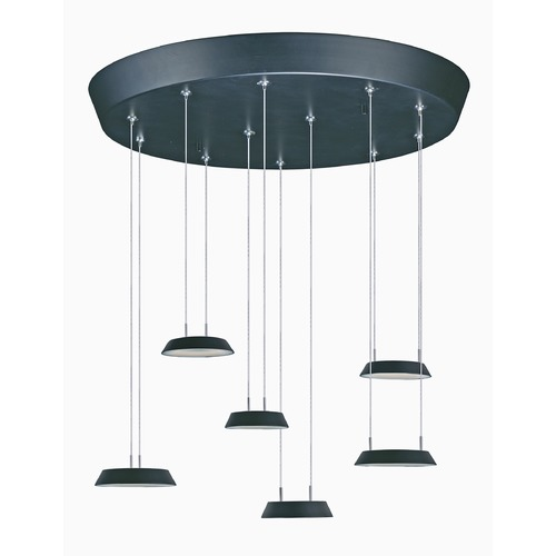 ET2 Lighting Quantum LED Black LED Multi-Light Pendant with Coolie Shade E20904-BK