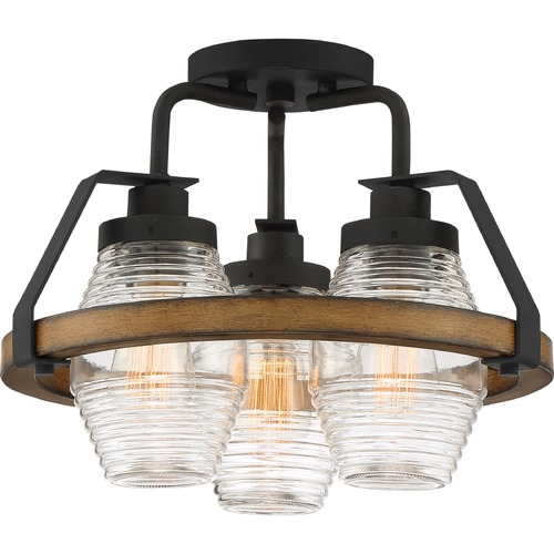 Quoizel Lighting Quoizel Lighting Guilford Grey Ash with Painted Natural Walnut Semi-Flushmount Light GUI1715GK