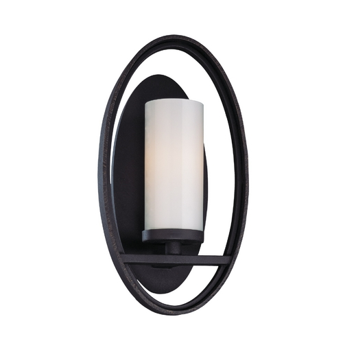 Troy Lighting Sconce Wall Light with White Glass in Federal Bronze Finish B2801