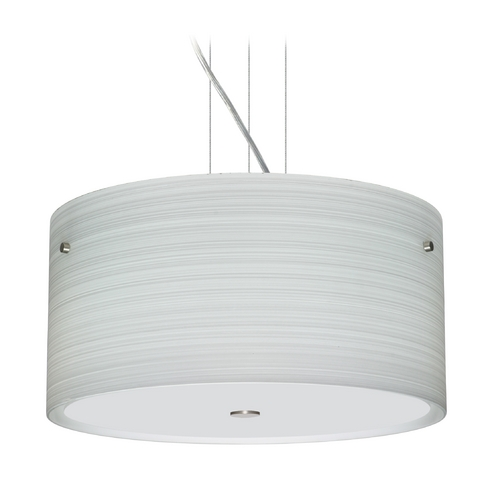 Besa Lighting Modern Pendant Light with Grey Glass in Satin Nickel Finish 1KV-4008KR-SN