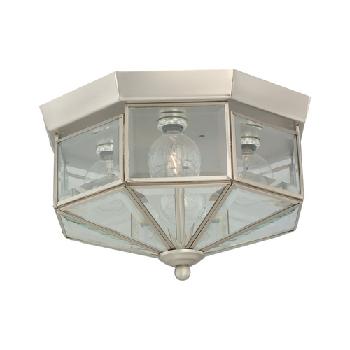 Sea Gull Lighting Flushmount Light with Clear Glass in Brushed Nickel Finish 7662-962
