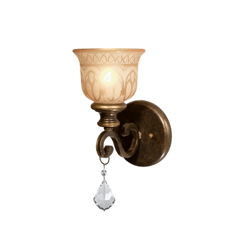 Crystorama Lighting Sconce Wall Light with Beige / Cream Glass in Bronze Umber Finish 7501-BU-CL-S