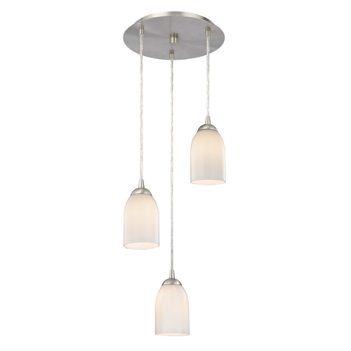Design Classics Lighting Modern Multi-Light Pendant Light with White Glass and 3-Lights 583-09 GL1024D