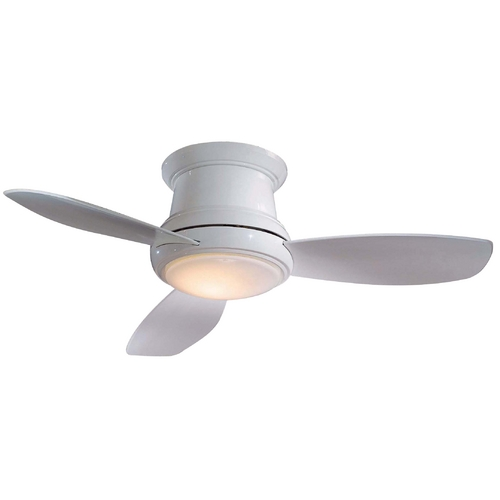 Minka Aire 52-Inch Hugger Ceiling Fan with Three Blades and Light Kit F519-WH