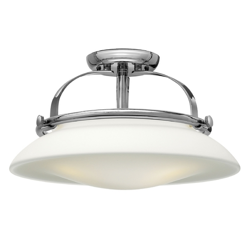 Hinkley Lighting Semi-Flushmount Light with White Glass in Chrome Finish 3321CM